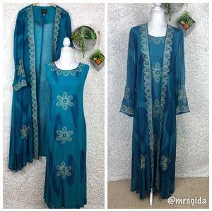 Ashro Embroidered Duster & Dress Set 16